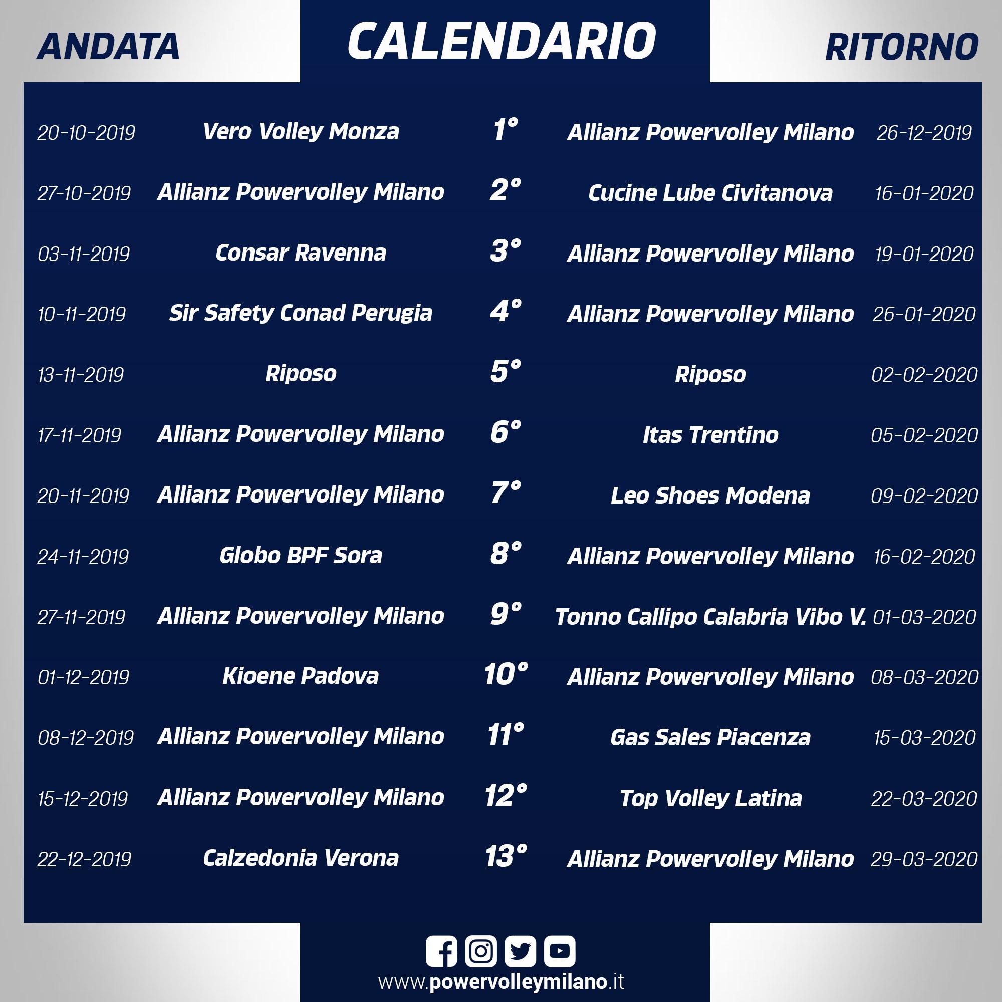 Calendario Volley Maschile 2020.Svelato Il Calendario Della Superlega